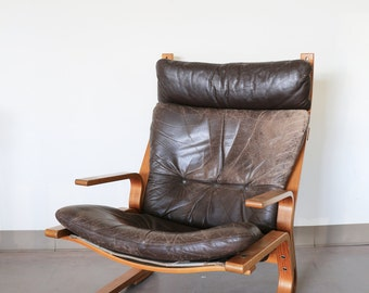 Oddvin Rykken Leather Bentwood Armchair, Norway
