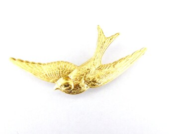 Gold Swallow Hair Clip Bird Barrette Bridal Bridesmaid Vintage Style Inspired Nature Rustic Woodland Wedding Accessories Womens Gift For Her