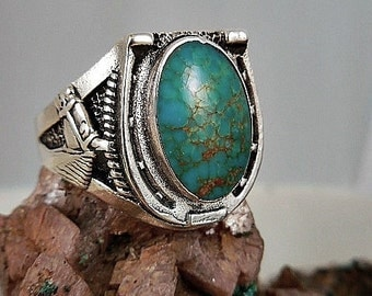 Turquoise Horse Shoe Sterling Silver Ring
