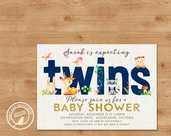 Navy Woodland Twins Baby Shower Invitation. Baby Shower Invite. Printable, Expecting Twins Baby Shower. Digital Invitation, 0499