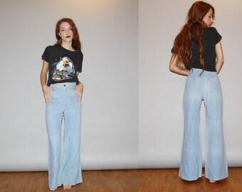 Vintage 70s High Waist Light Wash Baby Blue Denim Jean Flare Bell Bottom Jeans   - Vintage Bellbottoms    - W00015