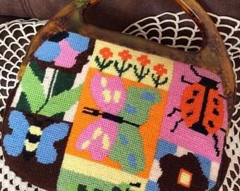 Vintage 1960s 1970s Handbag Purse Hand Made Needlepoint Bag Plastic Tortoise Handles Butterflies Flowers Lady Bugs Worm