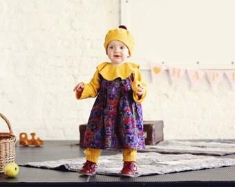 Girls dress Baby girls Pinafore dress Pansies print dress first birthday dress