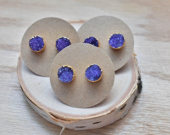 Purple Round Gold Druzy Stud Earrings/ Bright Purple Druzy/ Gemstone Mineral Gem Druzy Stone/ Round Stud Earrings (GSM11-PR)