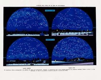 1929 Antique ASTRONOMY print, sky chart, stars chart, Appearance of the sky in november constellations