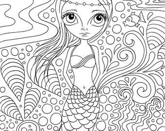 Printable 2017 Calendar to colour in!  Suitable for adults or kids. Mermaids, fairies and other whimsical designs. Created by Jaz Higgins.