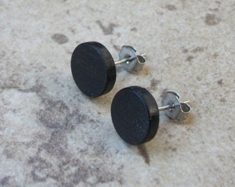 "Wood Stud Earrings, Ebony Wood Earring, Surgical steel, Sterling silver Posts, 3/8""(10mm) - 066"