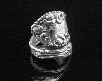 Ornate Floral Roses Monogrammed Sterling Spoon Ring