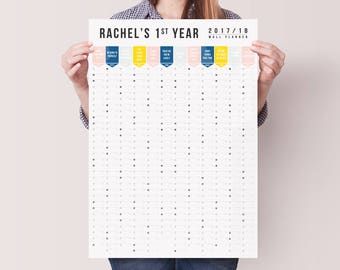 Personalised  2017 - 2018 Academic Wall Calendar - Year Planner - Study Planner - Wall Planner