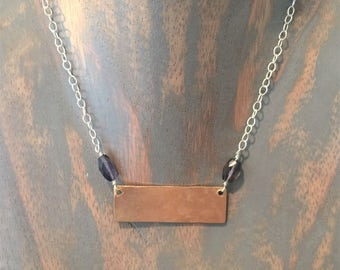 Brass Bar Sterling Silver Chain Amethyst Necklace
