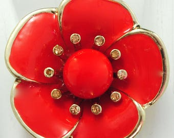 Poppy Flower Statement Ring/Red/Gold/Spring/Summer Jewelry/Gift For Her/Adjustable/Under 20 USD