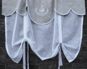 """Linen Tie Up Curtain with Crown Monogram, Natural Grey Valance, Roll up Shade, 28"""" length, Sheer Kitchen Curtain"""
