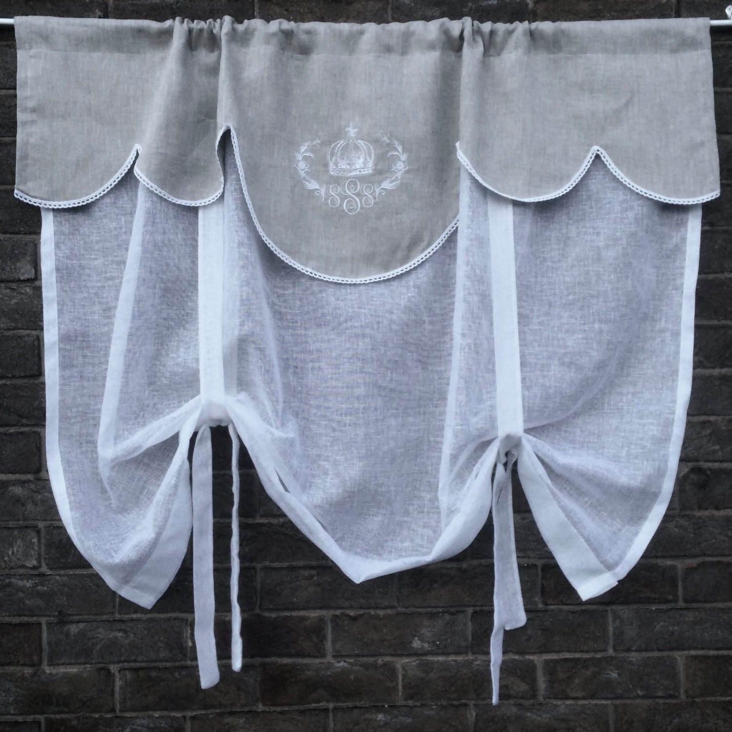Tie Up Kitchen Curtains: Linen Tie Up Curtain With Crown Monogram Natural Grey