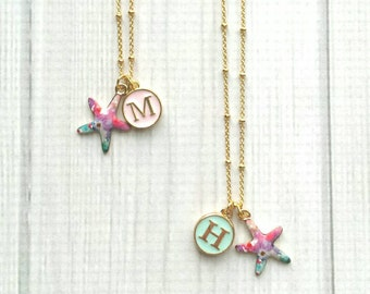 Starfish Necklace - watercolor pastel enamel gold star fish personalized pink / mint letter monogram initial - colorful beach charm pendant