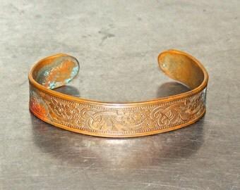 vintage copper cuff bracelet - 1930s-40s etched copper bracelet