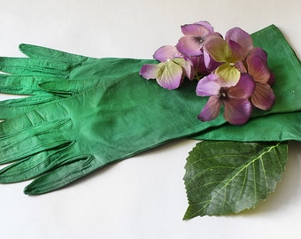Vintage Kid Gloves Emerald Green Harrods England 7 1/2