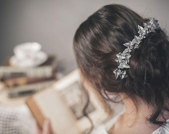 Leaf hair piece - Silver bridal comb - Ivy leaf comb
