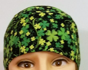 Black Skull Cap with Sparkling Green Shamrocks, St. Patrick's Day, Chemo Cap, Hats, Head Wrap, Do Rag, Irish, Motorcycle, Bald, Hair Loss