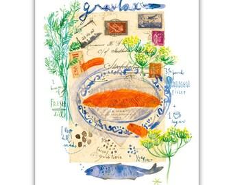 Gravlax, Scandinavian recipe illustration print, Watercolor painting, Kitchen decor, Nordic dish, Norwegian cuisine, Swedish food art, Dill