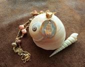Spiral Shaman Healer's Hand Reiki Red Creek Jasper and Czech Glass Necklace