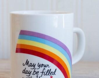 Vintage Rainbow Happiness Mug, 1980s  Retro Coffee Cup, Rainbows Hearts, 1984 Avon, Encouragement Any Holiday Gift Mug
