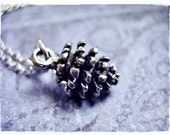 Tiny Silver Pine Cone Necklace - Antique Pewter Pine Cone Charm on a Delicate Silver Plated Cable Chain or Charm Only