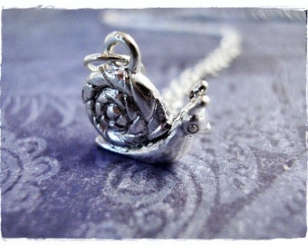 Silver Snail Necklace - Silver Pewter Snail Charm on a Delicate Silver Plated Cable Chain or Charm Only