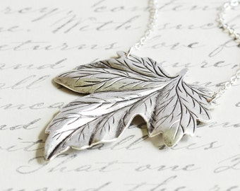 Silver Leaf Necklace, Antiqued Silver Plated Large Leaf Pendant Necklace on Silver Plated Chain, Autumn Necklace, Fall Woodland Jewelry