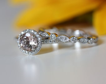 Engagement set, set of 2 rings, wedding band and morganite engagement ring set