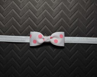 White with Pink Polka Dots Bow Headband/ White Bow Headband with Pink Polka Dots/ Baby Hair Accessories/ Baby Girls Hair Accessories/ Pink