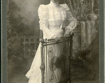 Pretty Woman in Wonderful WHITE VICTORIAN DRESS Cabinet Card Photo Potsdam New York circa 1890
