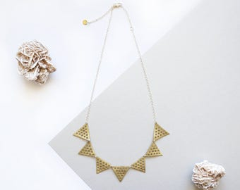 Bunting Triangle Geometric Leather Mesh Hole Punched Gold Pennant Necklace Recycled Eco Friendly Sustainable Minimalist Lace Lightweight
