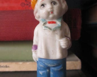 MINIATURE BISQUE DOLL - Distressed Boy with Yellow Hat-  Antique Vintage Mini Figure for Collecting or Altered Art Projects