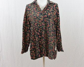 Vintage Oversized Floral Blouse, Size Small, Grunge, 90's Clothing, Tumblr Clothing, My So Called Life, Mixed Print, Witch