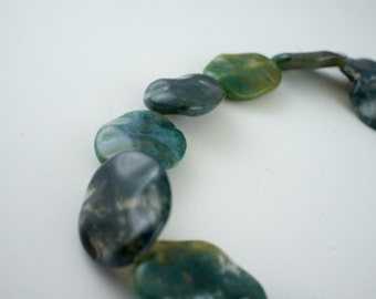 20x24mm Translucent Green Moss Agate Gemstone Tumbled Faceted Oval Beads - 15 inch strand - 16 pieces