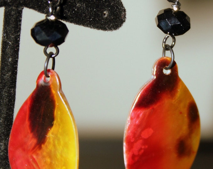 Fiery Red and Orange Colored Shell Earrings