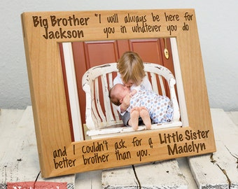 Personalized Brother and Sister Frame-Sibling Gift-Big Brother, Little Sister-Wood Engraved-Color of Your Choice