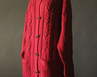 Vintage 90's Red Merino Wool Cable Knit Button Up Fishermans Cardigan Sweater by Aran Crafts, size XXL