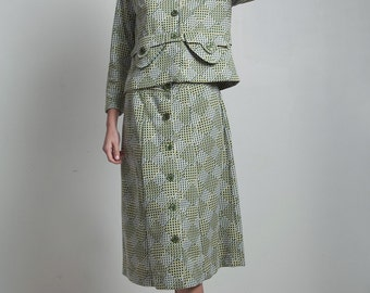 op art skirt suit vintage 70s 2-piece matching set jacket top green diamond double knit polyester LARGE L