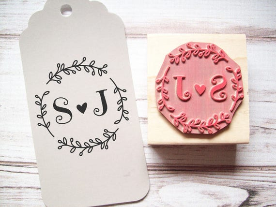 Custom Wedding Stamp - Wreath with Initials