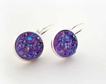 Purple round druzy earrings, geode earrings, gift for her