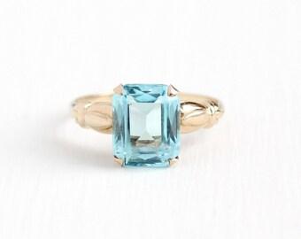 Sale - Vintage 10k Rosy Yellow Gold Simulated Aquamarine Ring - 1940s Size 7 Light Aqua Blue Emerald Cut Glass Stone Esemco Fine Jewelry
