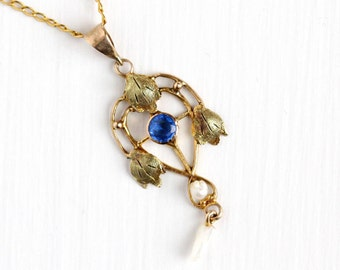 Sale - Antique 10k Yellow Gold Simulated Sapphire Edwardian Necklace - Vintage Lavaliere Art Nouveau Fine Pendant 1900s Pearl Leaf Jewelry