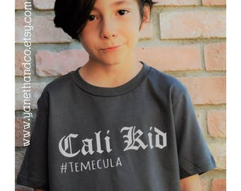 Cali Kid Shirt, Cali Kid Temecula shirt, Gray Cali Kid Temecula shirt, California kids shirt, Kids California shirt, Kids Cali shirt