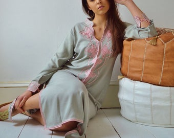 Grey with Baby Pink Moroccan Caftan Kaftan Aisha-loungewear,resortwear,robe, great for birthdays, Hon