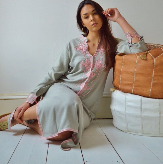 Grey with Baby Pink Moroccan Caftan Kaftan Aisha-loungewear,resortwear,robe, great for birthdays, Hon