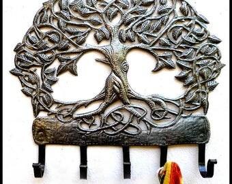 Metal Towel Hook - Metal Art, Tree Metal Wall Hook - Metal Wall Hanging - Metal Wall Decor - Haitian Recycled Steel Drum Wall Decor -345-HK