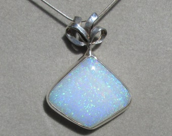 Opal Pendant in Sterling Silver with Bow -- Gilson Opal