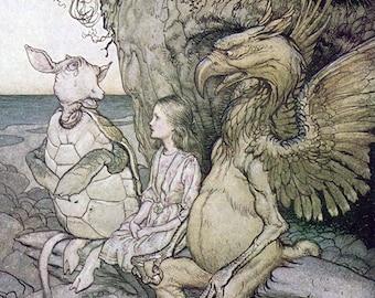 Gryphon & Mock Turtle,  Arthur Rackham, Vinatge Art Print