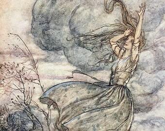 The Storm Threatened,  Arthur Rackham, Vinatge Art Print